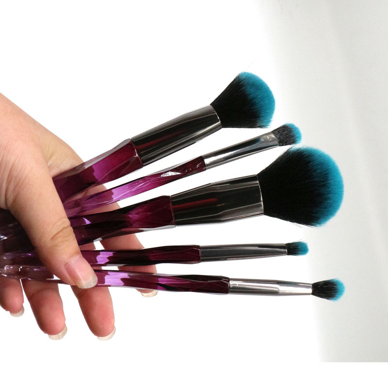 fashion design 5 pcs diamond makeup brush transparent handle brush set custom logo