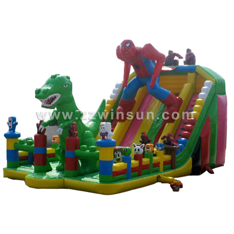 spiderman and green dinosaur park inflatable dry slide