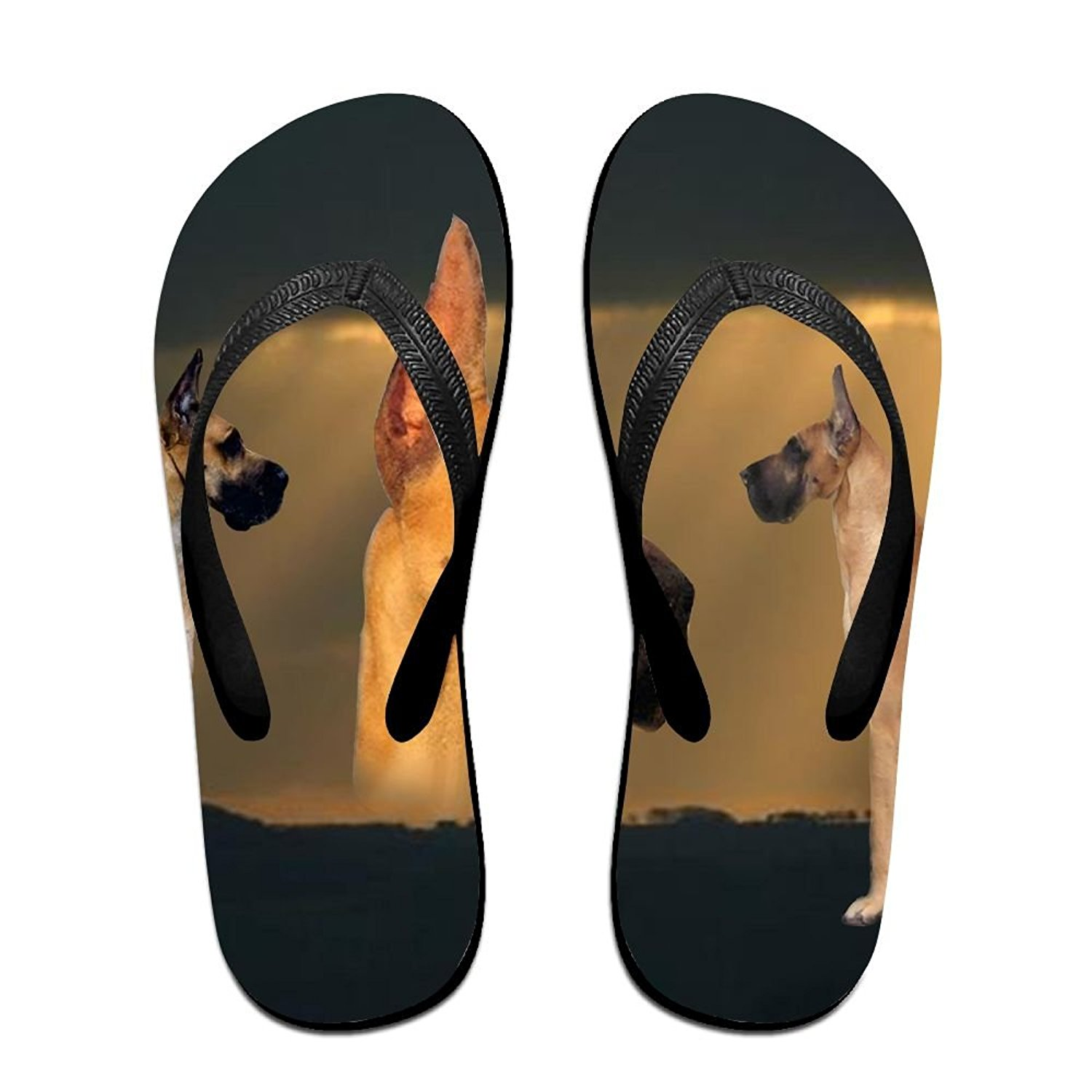 Couple Flip Flops Reindeer Print Chic Sandals Slipper Rubber Non-Slip Spa Thong Slippers