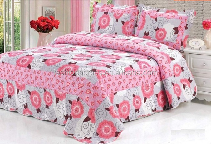 Wedding quilt 3pcs microfiber printed bedding set