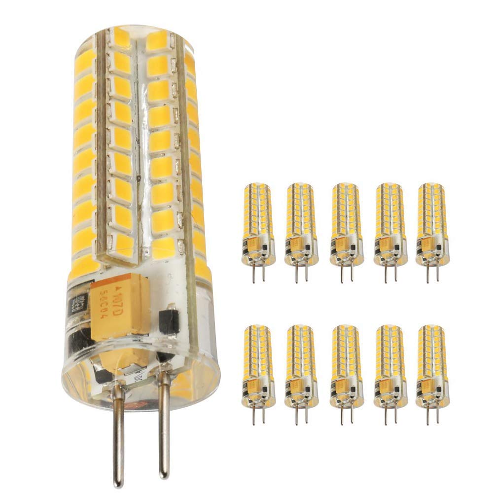 Ukey U GY6.35 LED Bulbs,5W Bi-pin Base AC/DC 12V 2700K Warm White Dimmable, G6.35/GY6.35 Base JC Type LED Halogen Incandescent 50W Replacement Bulb 10Pack (5)
