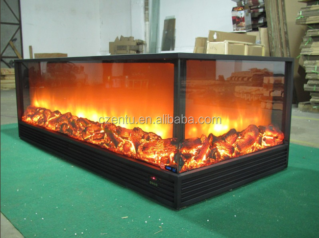 1 2m long 2 sided electric fireplace with remote control