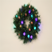 LED lighted christmas wreath with lights for holiday decorations,christmas wreath