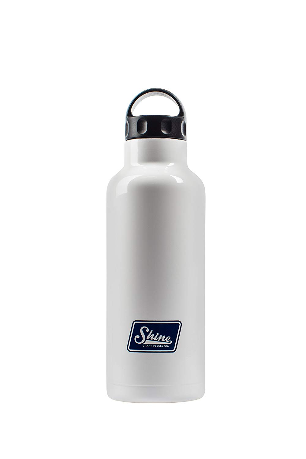 Water Bottle Stainless Steel Vacuum Insulated Wide Mouth by Shine Craft Vessels | Thermos Flask Keeps Water Stay Cold for 24 hours, Hot for 10 hours BPA Free ( Bright White ) - Vessel 750ML