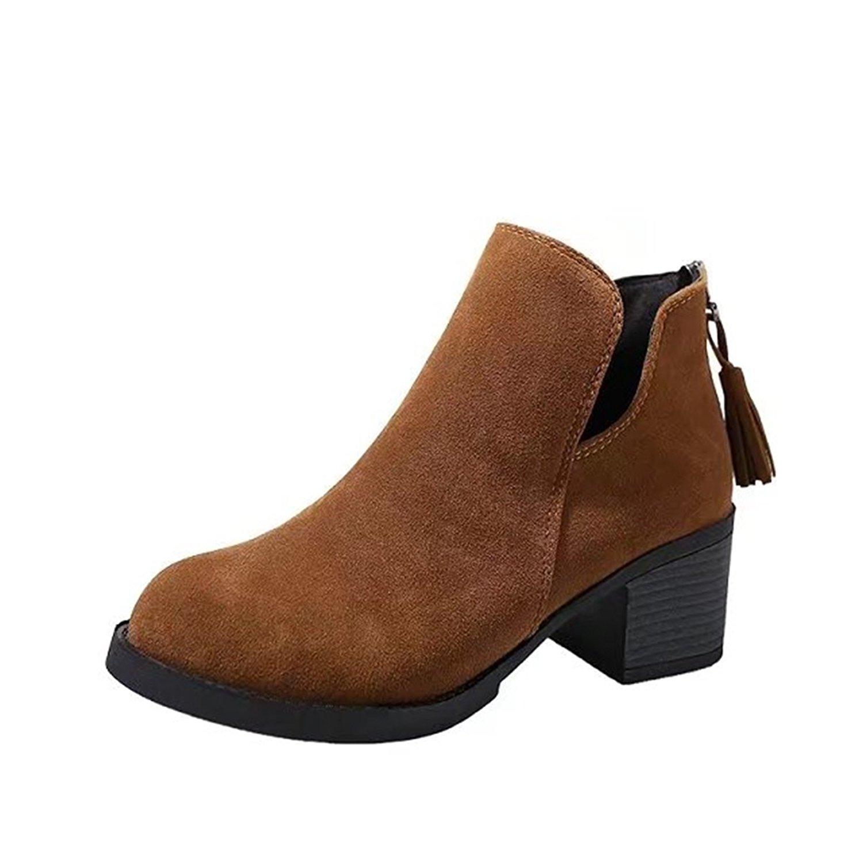 Cut-out Side Tassel Zipper Boots Western Cowboy Womens Mid Block Heel Ankle Booties By VFDB