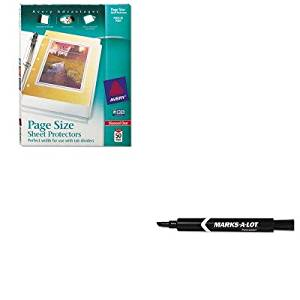 KITAVE08888AVE74203 - Value Kit - Avery Top-Load Poly 3-Hole Punched Sheet Protectors (AVE74203) and Marks-a-lot Permanent Marker (AVE08888)