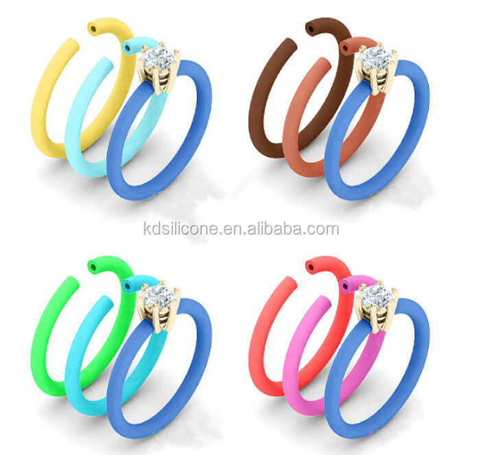 2014 new popular rubber thumb rings diamond silicone finger rings