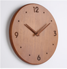 Bamboo Wood Black Retro Number Silent Sweep Wall Clock