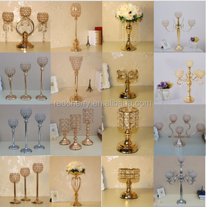 luxury crystal candlestick, hollow iron wedding props ornaments, electroplating hardware candlestick manufacturers direct sales