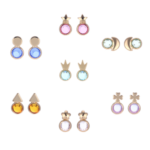 7pairs/lot Glass Birthstone Stud Earrings Daily Used Female Upscale Week Group Earring Pendientes Mujer Moda Boucle D'oreille