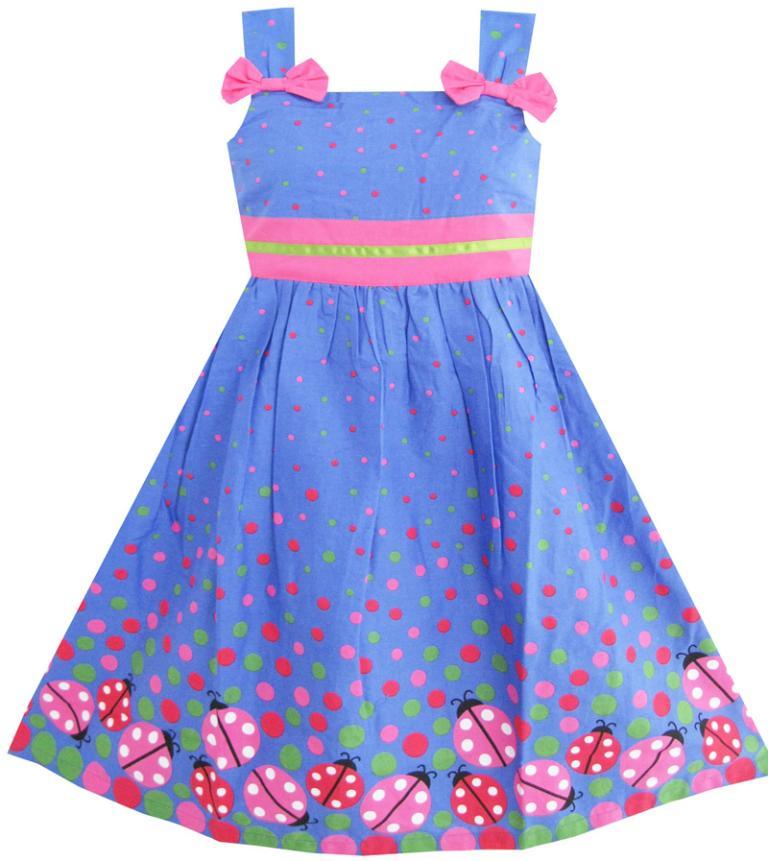 Sunny Fashion Vestido Niña Azul Mariquita Rosado Punto Niños Ropa
