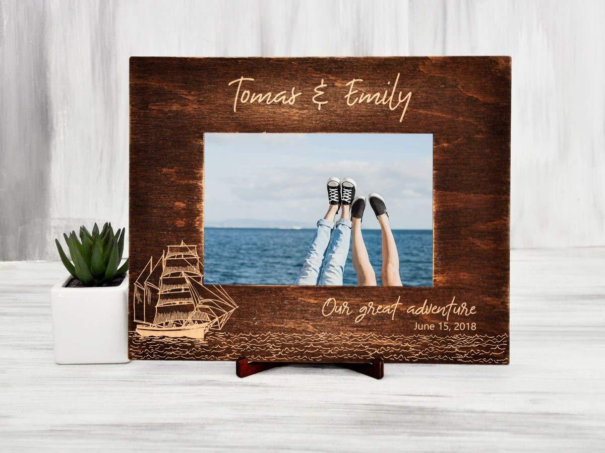 "Personalized Picture Frame Wood Photo Frame Destination Wedding Gift for Couple Christmas Gift Sailboat Sea Traveler Gift Ideas Custom Photo Frame Family Frame Horizontal Vertical Frame 4x6"" 5x7"" 6x8"""
