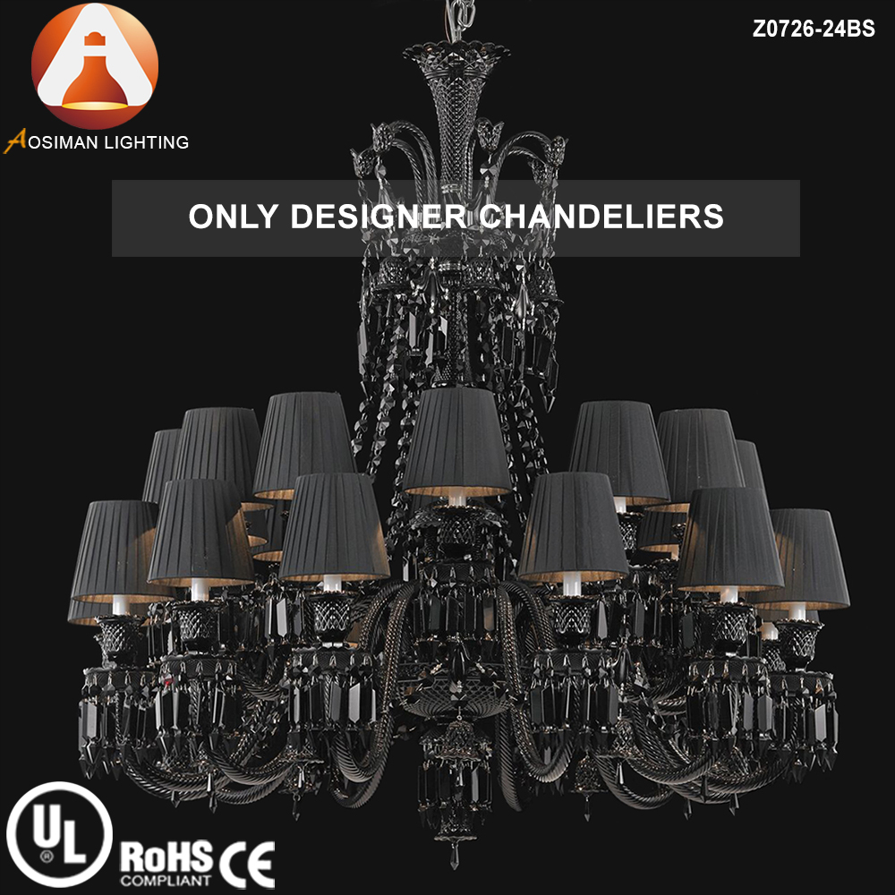 Baccarat Clical 24 Light Black Crystal Chandelier With Lampshade Product On Alibaba