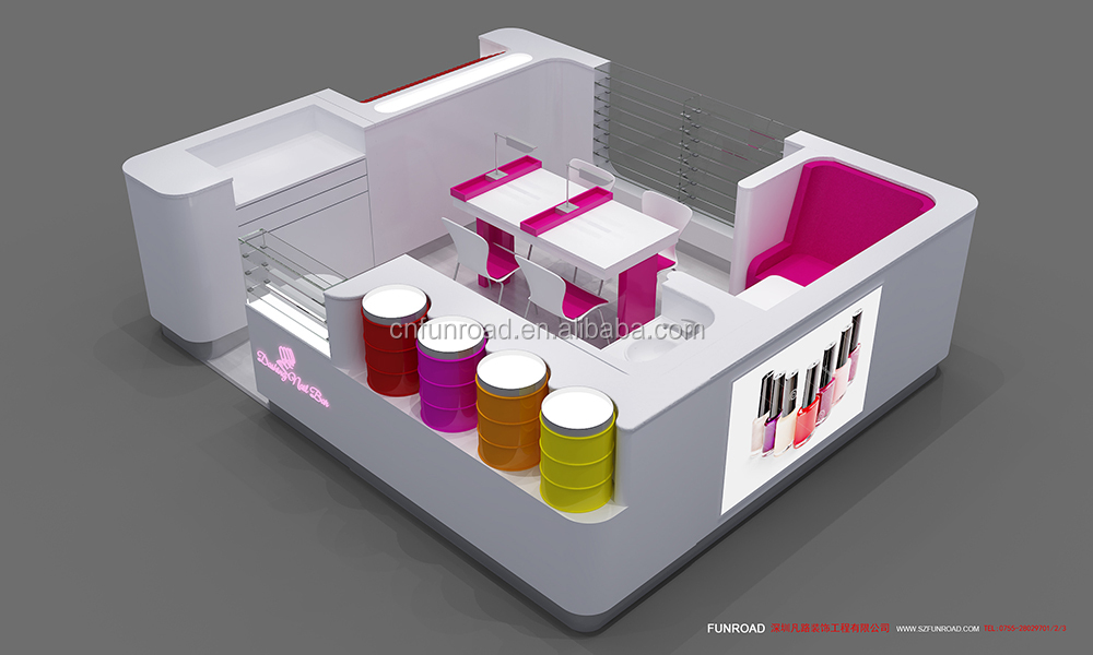Unique nail bar manicure booth nail mall salon kiosk station 3D plan design