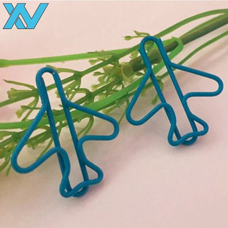 Office 문구 플라스틱 코팅 metal 선 plane shape paper clip gift airplane shape metal clips