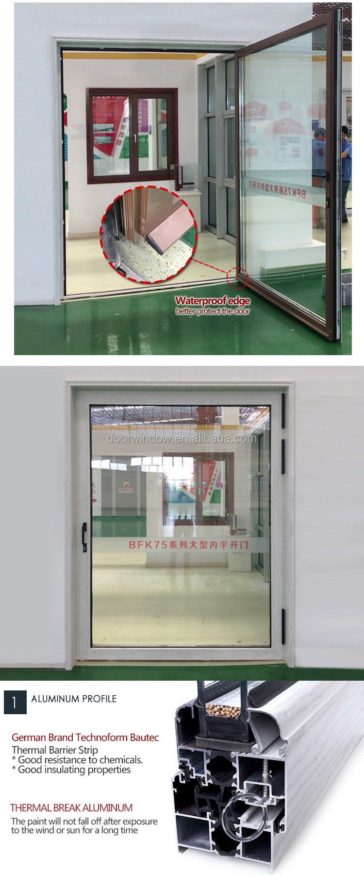 Super September Purchasing 2018 Hot Selling Front 180 degree interior glass hinge swing door Home Exterior Aluminum Glass Door