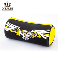 Promotion overstock OEM fancy custom printed logo korean 100% Polyester pencil shaped round pencil case