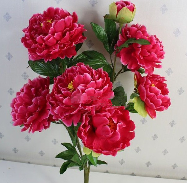 Wholesale 8 head spring peony flowers,high 67cm,wedding bouquets,home decoration,artificial silk flowers,free shipping