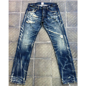 47a691bdc7bd Custom High quality vintage wash distressed Japanese selvedge jeans denim  selvedge denim jeans (LOTV028)
