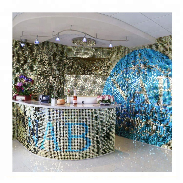 Patent Sequin Disc PVC Wall Panel For Restaurant <strong>Bar</strong> Counter Design
