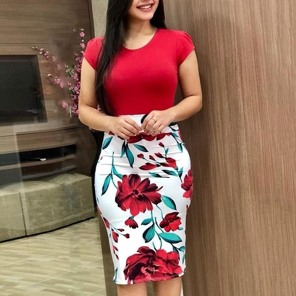 Women <strong>Dress</strong> Slimming Bodycon <strong>Dress</strong> Floral Print Short <strong>Dress</strong> Short Sleeves