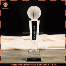 factory wholesale handmade clear color crystal basketball sports trophy