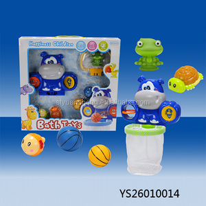 2018 New design summer baby toy 6 in 1 tub town bath toys baby shower favors hippo bath toy