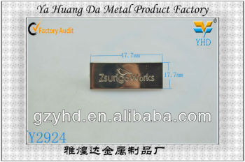 shinny leather label with metal with nice quality