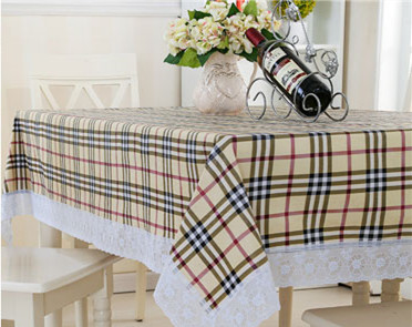 hot sale facotry vinyl flannel back pvc table cover lace edge waterproof polyester table cloth