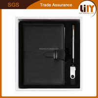 office and school stationery cheap custom a5 pu leather notebook gift set