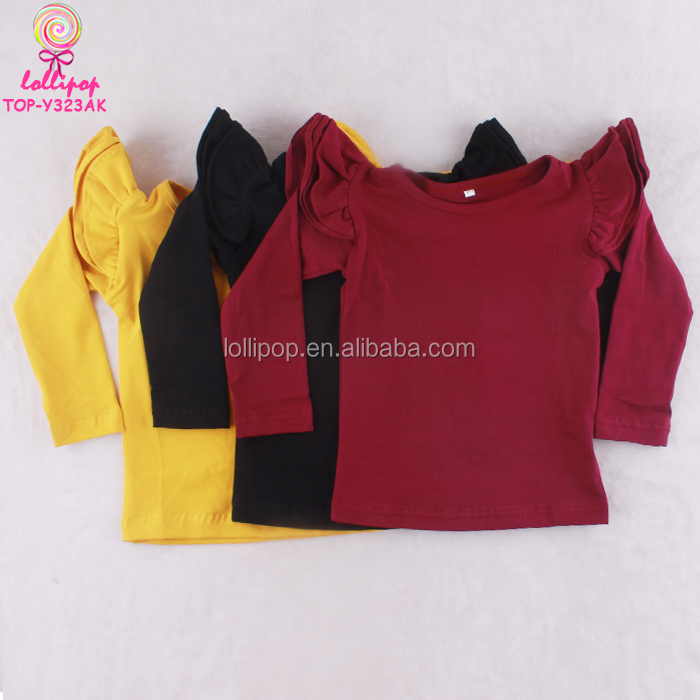 c39d7409 Latest Design Baby Girl Long Sleeve Simple Solid Red Ruffle Kids Baby  Flutter Sleeve T Shirt