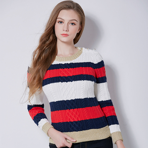 Wholesale spring fashion simple stripe women's knitwear