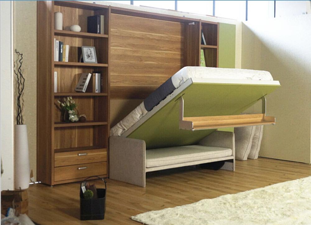 Ahorro de espacio oculto pared cama plegable cama de la - Camas pegadas ala pared ...
