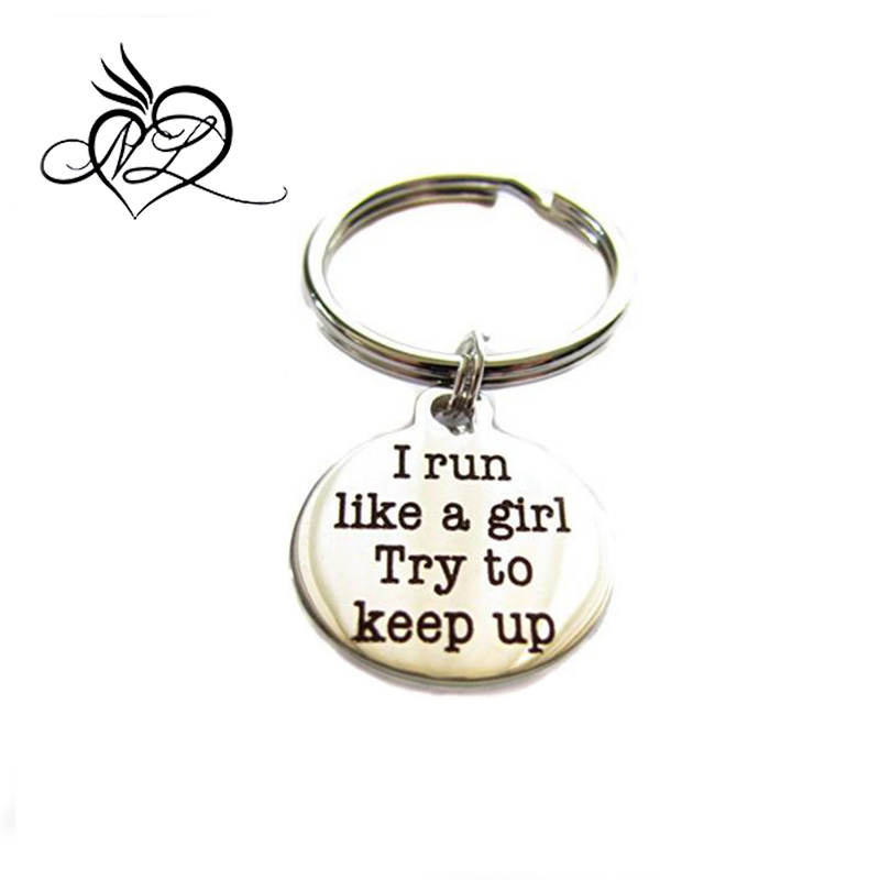 "Stainless Steel ""I Run Like A Girl, Try To Keep Up"" Keychain, Bag Charm Runner Gift"