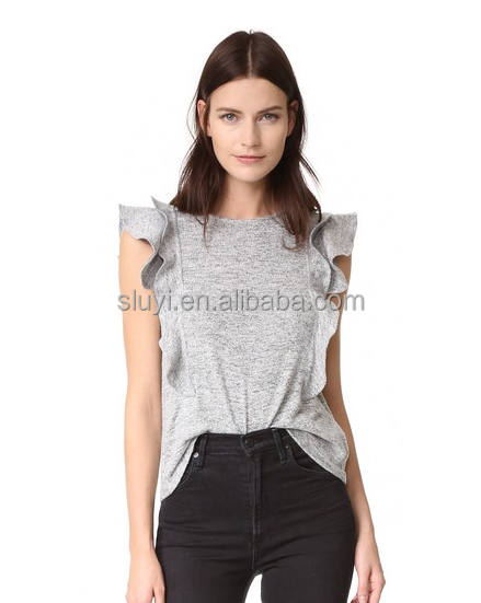 N1316 Trendy women layered sleeveless design high round neck style comfort casual outdoor wear plain women grey slim fit blouse