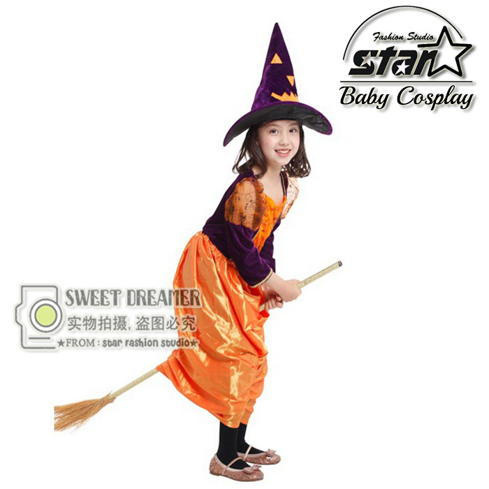 Halloween Cosplay Costumes for Girls Pumpkin Witches font b Dress b font Kids Masquerade font b