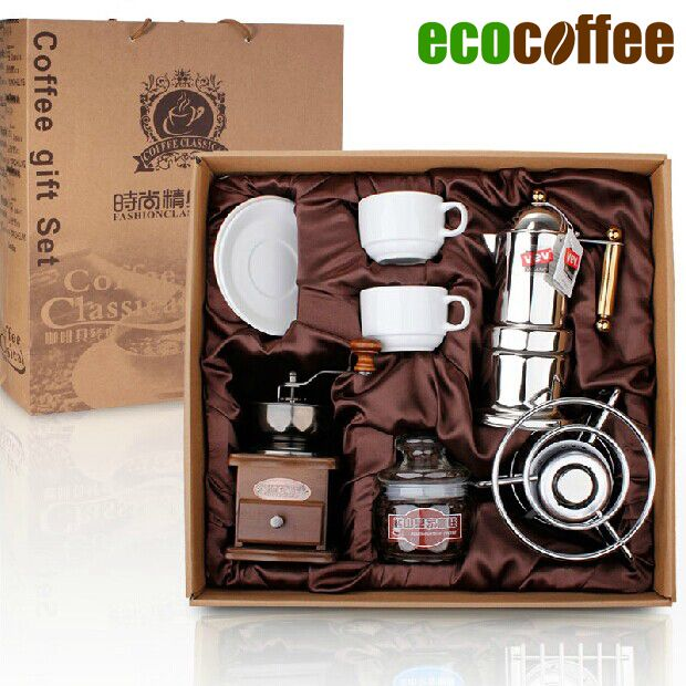 amazon hot sale popular espresso Coffee Accessories coffee set glass barrel + Coffee Grinder+ cups +moka pot Gift Box