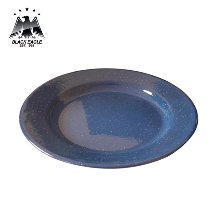 20cm White and Blue Enamel Dinner Plate Pack of 6