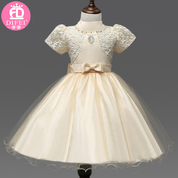 China Factory Elegant Chiffon Kids Clothing Baby Girl Birthday Dresses Girls party dresses 2-7 years old
