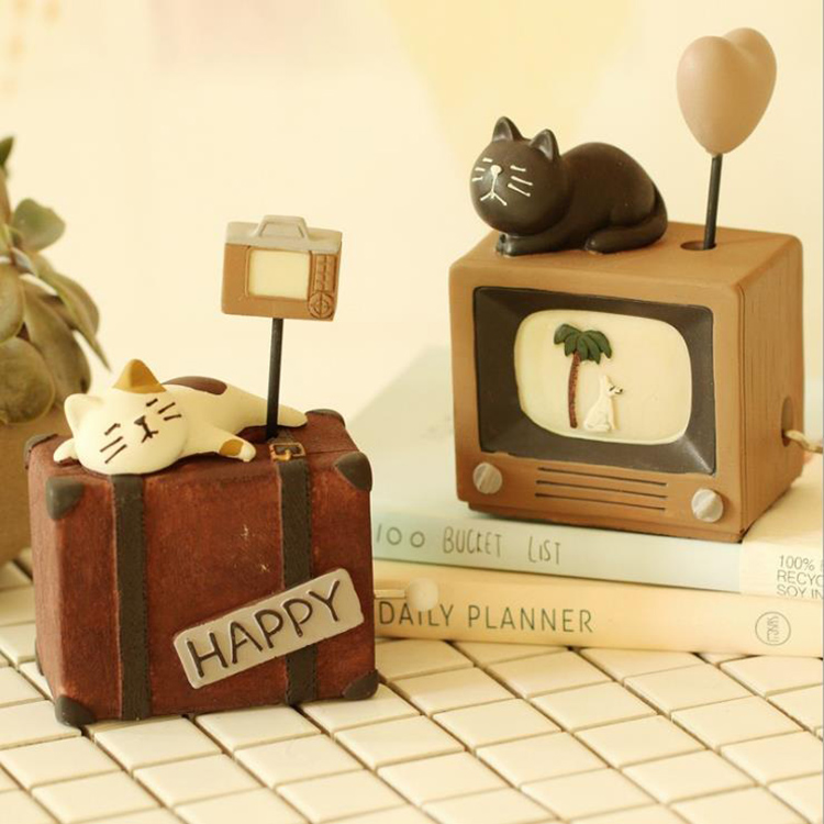 Resin Crafts Decoration Mini Music Box Cartoon Animal Hand Crank Music Box