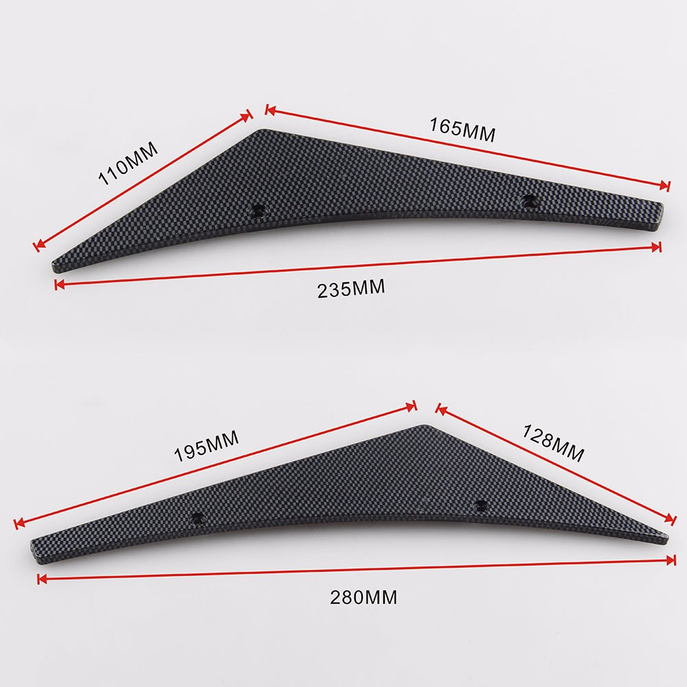 Ryanstar Universal 4pcs False Carbon Fiber Look Front Bumper Lip Splitter Fins Spoiler Canards