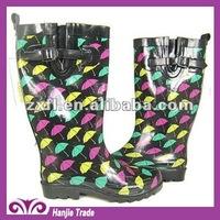 Fashion Umbrella Print Rubber Rain Boot for Women