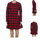 Red Plaid Tunic Shirt Dresses