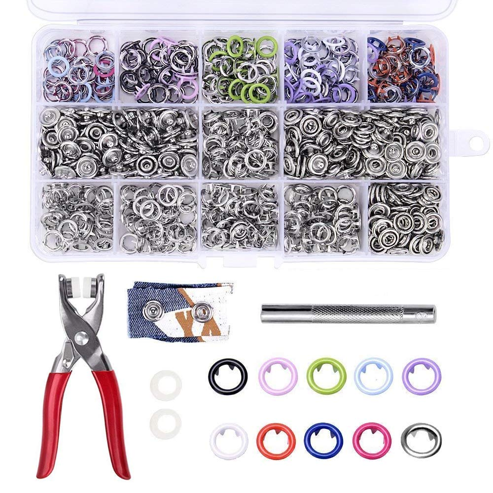 200 Sets Snap Fasteners Kit Tool, Metal Snap Buttons Rings with Fastener Pliers Press Tool Kit for Clothing 10 Colors 9.5mm by Craftsman