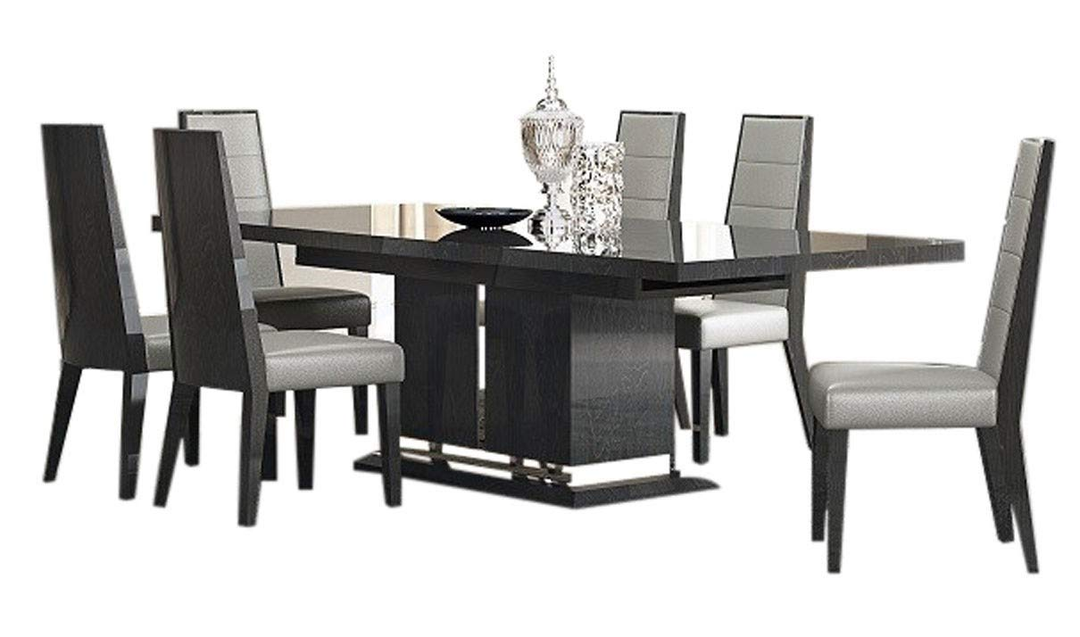 J&M Furniture Valentina Modern Dining Room Set in Grey Lacquer & High Gloss Veneer