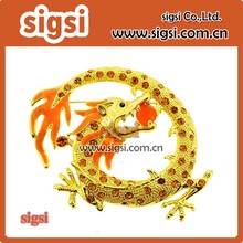 Yellow charming dragon rhinestone brooch for sale