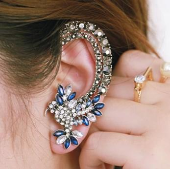 Fashionable Jewelry Pretty Navy Crystal Parrot Ear Cuff Earring Wrap Product On