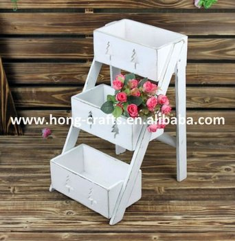 White Shabby Chic Small Garden Decorative Flower Outdoor Wooden Plant Stands  H12008