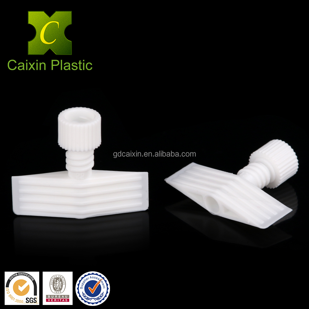 Eco-friendly HDPE raw material plastic type break away spout fitment cap for hotel disposable shampoo bag