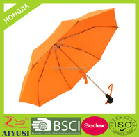 Manual open 3 fold animal head windproof umbrella with duck head handle and fiberglass ribs
